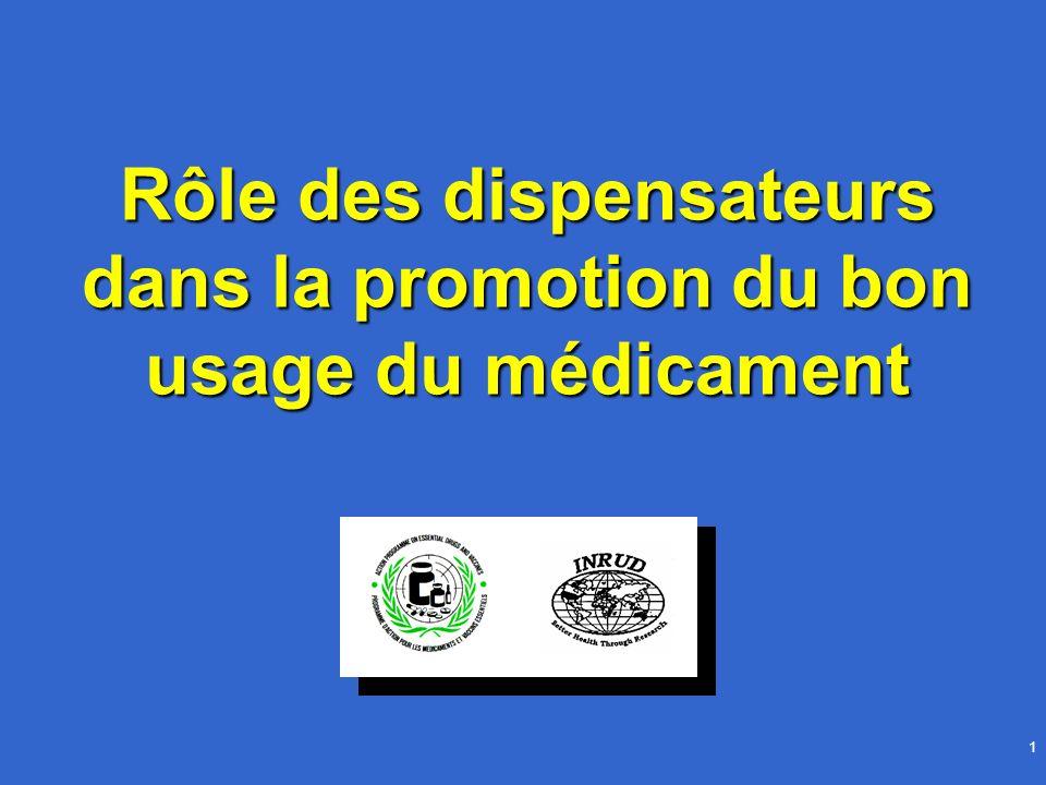 1 Rôle des dispensateurs dans la promotion du bon usage du médicament