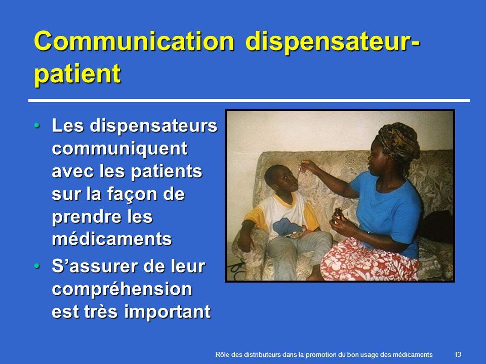 Rôle des distributeurs dans la promotion du bon usage des médicaments13 Communication dispensateur- patient Les dispensateurs communiquent avec les pa