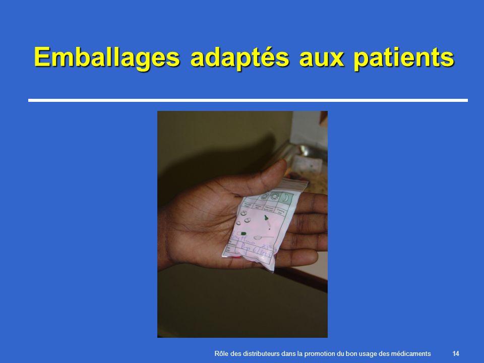 Rôle des distributeurs dans la promotion du bon usage des médicaments14 Emballages adaptés aux patients