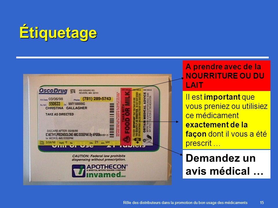 Rôle des distributeurs dans la promotion du bon usage des médicaments15 Étiquetage A prendre avec de la NOURRITURE OU DU LAIT Il est important que vou