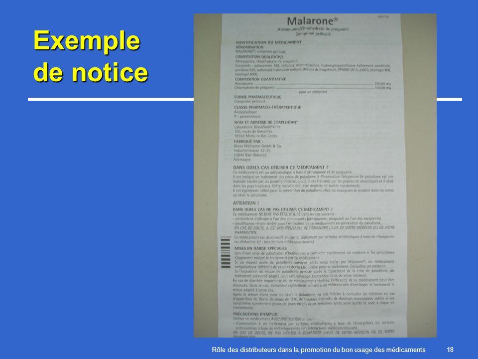 Rôle des distributeurs dans la promotion du bon usage des médicaments18 Exemple de notice