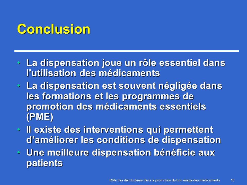 Rôle des distributeurs dans la promotion du bon usage des médicaments19 Conclusion La dispensation joue un rôle essentiel dans lutilisation des médica