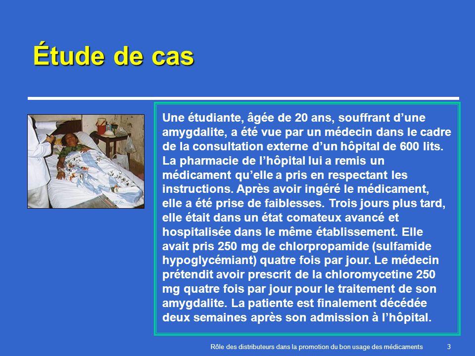 Rôle des distributeurs dans la promotion du bon usage des médicaments3 Étude de cas Une étudiante, âgée de 20 ans, souffrant dune amygdalite, a été vu
