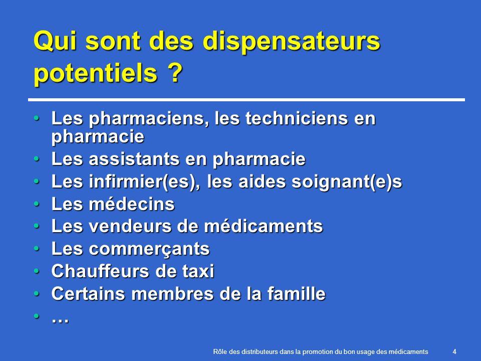Rôle des distributeurs dans la promotion du bon usage des médicaments4 Qui sont des dispensateurs potentiels ? Les pharmaciens, les techniciens en pha