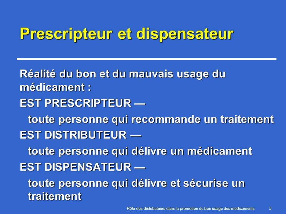 Rôle des distributeurs dans la promotion du bon usage des médicaments5 Prescripteur et dispensateur Réalité du bon et du mauvais usage du médicament :