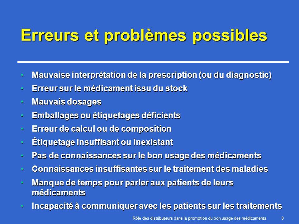 Rôle des distributeurs dans la promotion du bon usage des médicaments8 Erreurs et problèmes possibles Mauvaise interprétation de la prescription (ou d