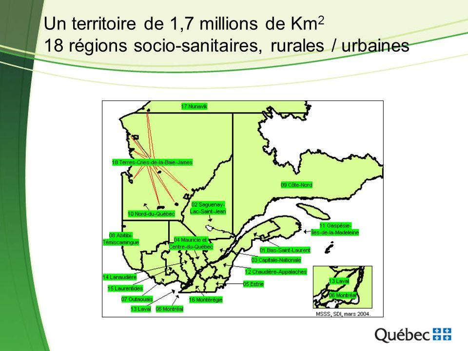 Un territoire de 1,7 millions de Km 2 18 régions socio-sanitaires, rurales / urbaines