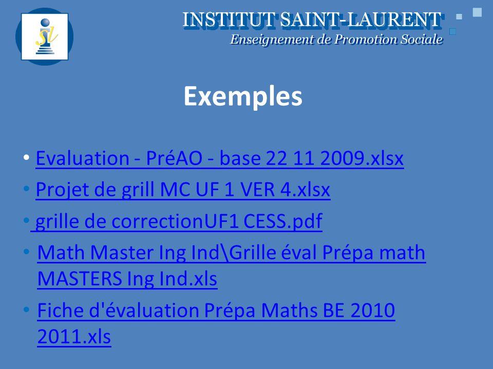 Exemples Evaluation - PréAO - base 22 11 2009.xlsx Projet de grill MC UF 1 VER 4.xlsx grille de correctionUF1 CESS.pdf Math Master Ing Ind\Grille éval