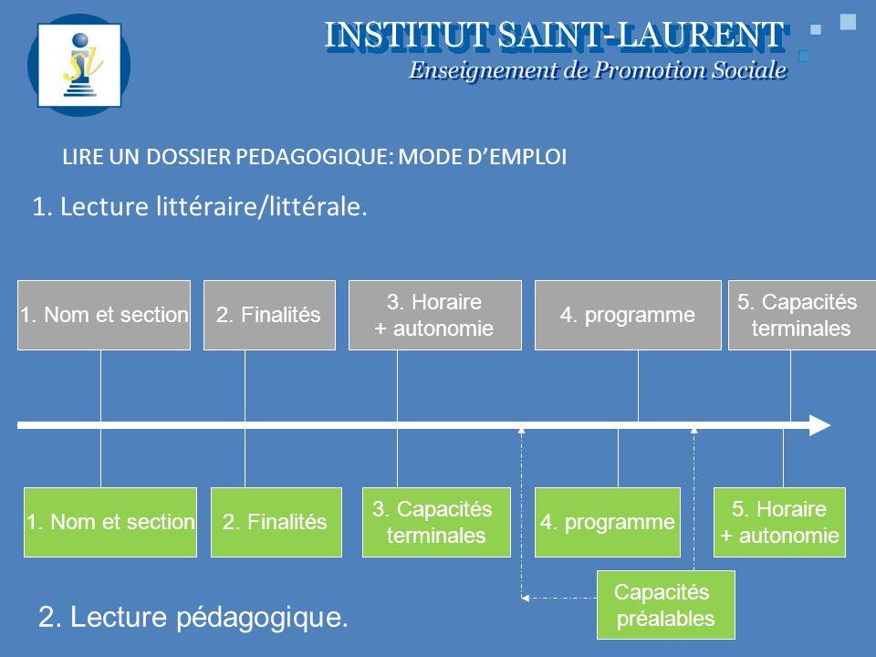 LIRE UN DOSSIER PEDAGOGIQUE: MODE DEMPLOI 1. Lecture littéraire/littérale. 1. Nom et section2. Finalités 3. Horaire + autonomie 4. programme 5. Capaci