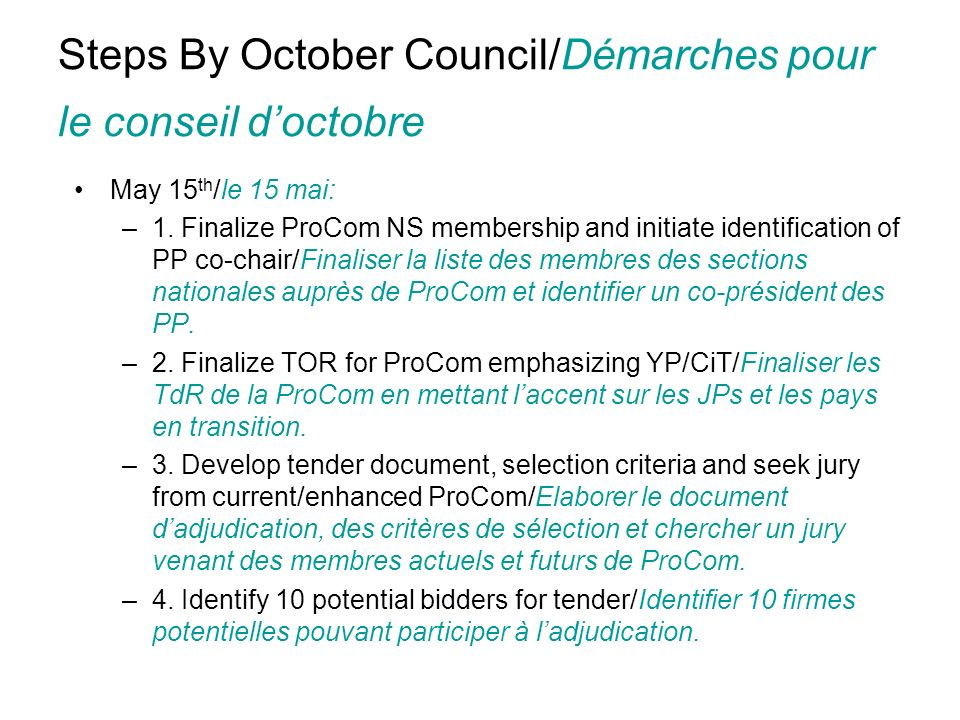 Steps By October Council/Démarches pour le conseil doctobre May 15 th /le 15 mai: –1.