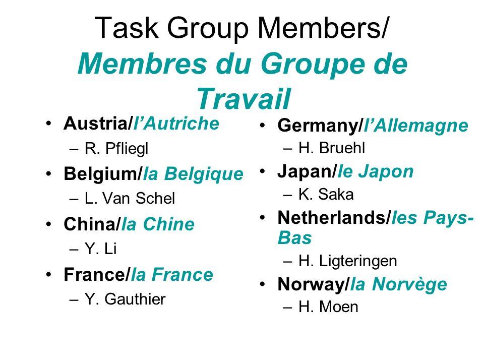 Task Group Members/ Membres du Groupe de Travail Austria/lAutriche –R. Pfliegl Belgium/la Belgique –L. Van Schel China/la Chine –Y. Li France/la Franc