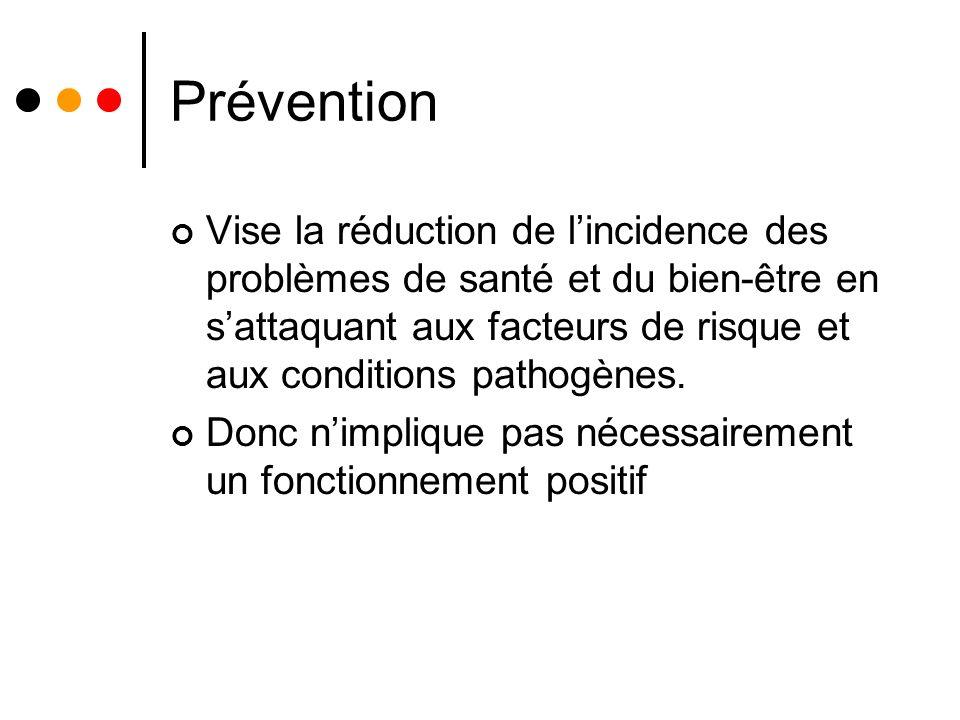 Prévention Vise la réduction de lincidence des problèmes de santé et du bien-être en sattaquant aux facteurs de risque et aux conditions pathogènes.