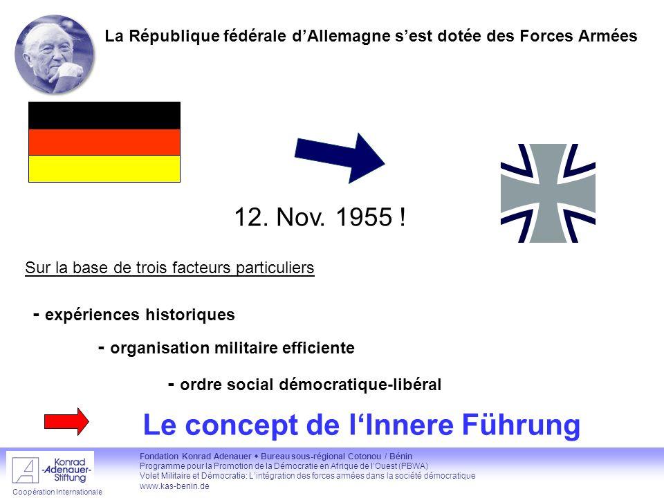 Fondation Konrad Adenauer Bureau sous-régional Cotonou / Bénin Programme pour la Promotion de la Démocratie en Afrique de lOuest (PBWA) Volet Militair