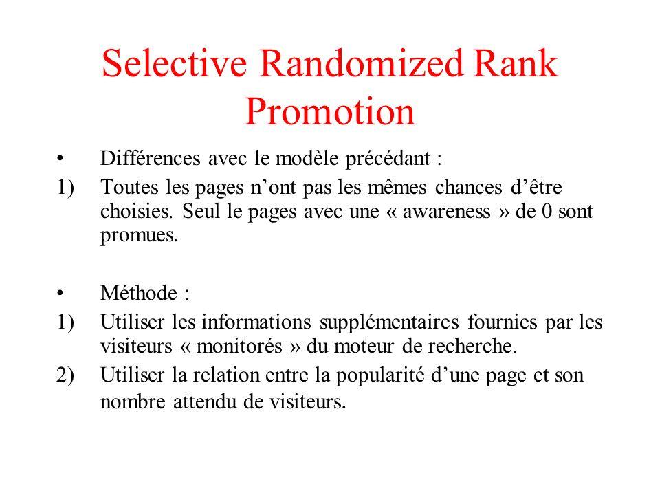 Selective Randomized Rank Promotion Différences avec le modèle précédant : 1)Toutes les pages nont pas les mêmes chances dêtre choisies.