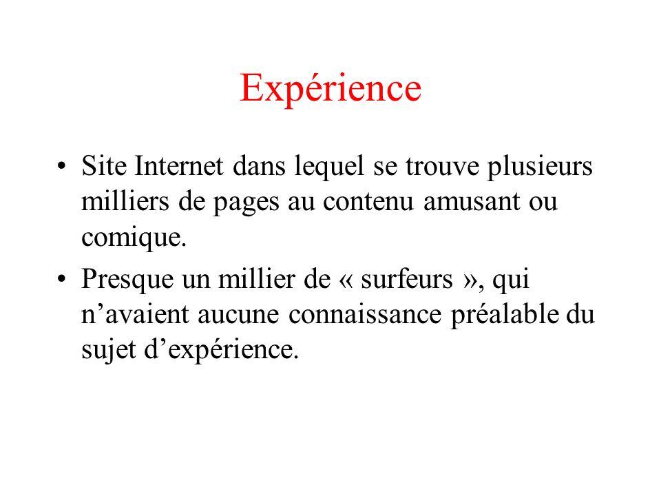 Expérience Site Internet dans lequel se trouve plusieurs milliers de pages au contenu amusant ou comique.