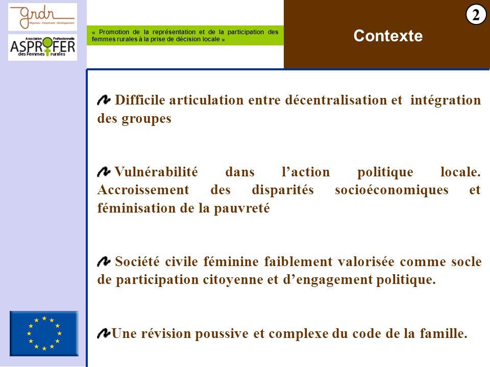« Promotion de la représentation et de la participation des femmes rurales à la prise de décision locale » 2 Contexte Difficile articulation entre décentralisation et intégration des groupes Vulnérabilité dans laction politique locale.