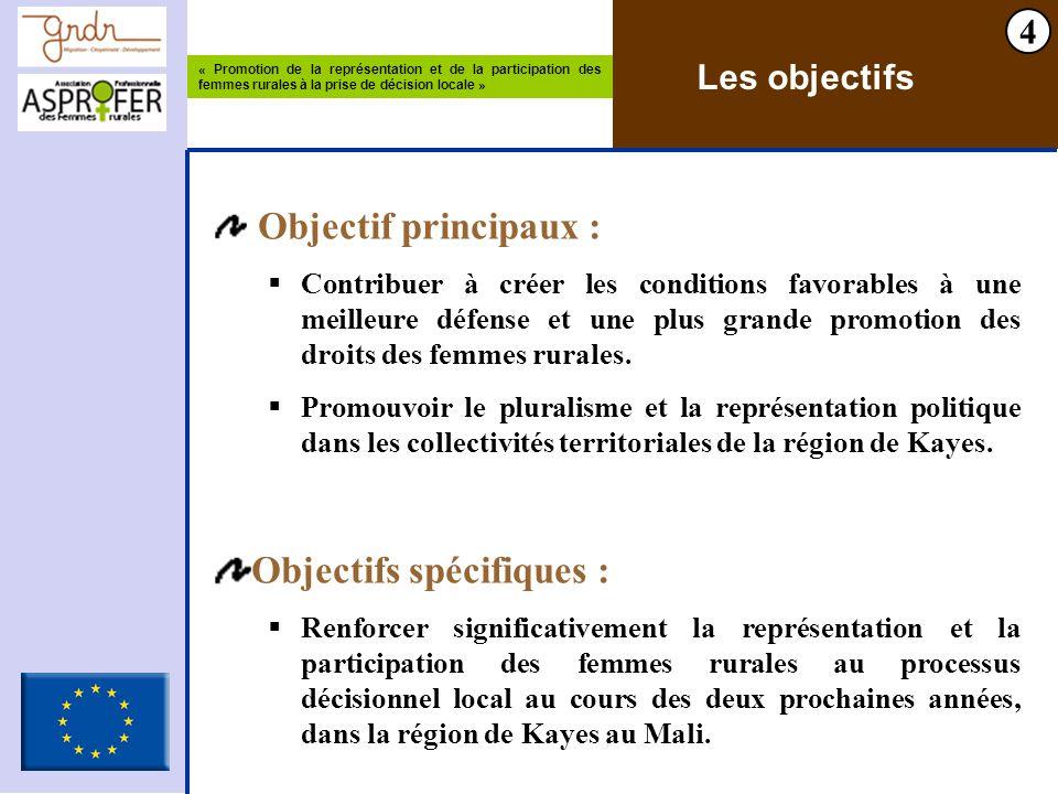 « Promotion de la représentation et de la participation des femmes rurales à la prise de décision locale » 4 Les objectifs Objectif principaux : Contr