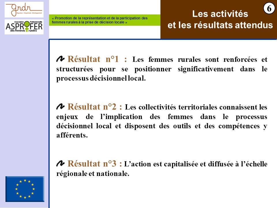 « Promotion de la représentation et de la participation des femmes rurales à la prise de décision locale » 6 Les activités et les résultats attendus R