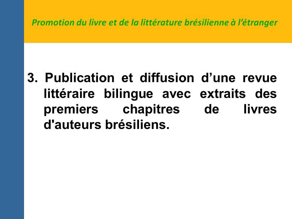 3. Publication et diffusion dune revue littéraire bilingue avec extraits des premiers chapitres de livres d'auteurs brésiliens. Promotion du livre et