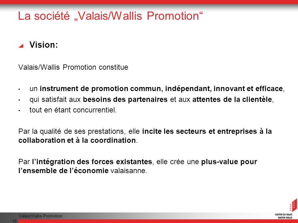 Valais/Wallis Promotion 10 La société Valais/Wallis Promotion Vision: Valais/Wallis Promotion constitue un instrument de promotion commun, indépendant, innovant et efficace, qui satisfait aux besoins des partenaires et aux attentes de la clientèle, tout en étant concurrentiel.