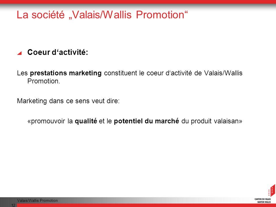 Valais/Wallis Promotion 12 La société Valais/Wallis Promotion Coeur dactivité: Les prestations marketing constituent le coeur dactivité de Valais/Wallis Promotion.