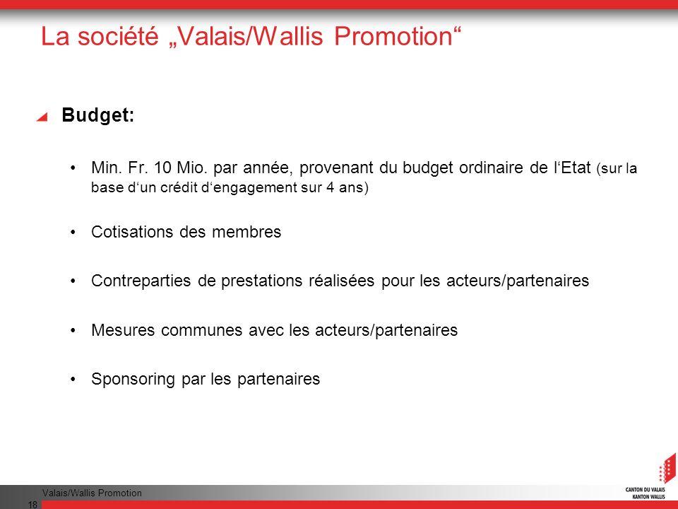 Valais/Wallis Promotion 18 La société Valais/Wallis Promotion Budget: Min.