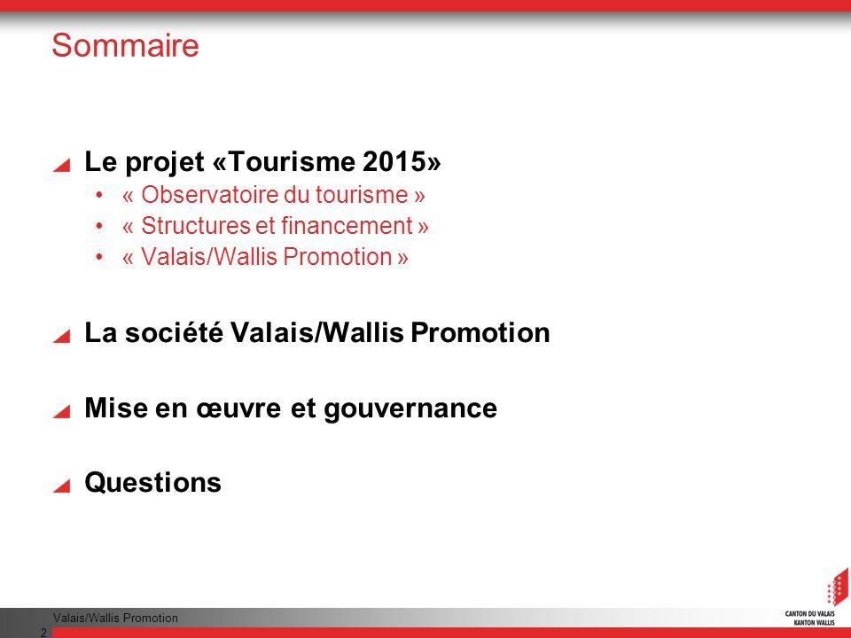 Valais/Wallis Promotion 2 Sommaire Le projet «Tourisme 2015» « Observatoire du tourisme » « Structures et financement » « Valais/Wallis Promotion » La société Valais/Wallis Promotion Mise en œuvre et gouvernance Questions