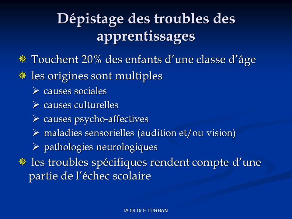 Dépistage des troubles des apprentissages Touchent 20% des enfants dune classe dâge Touchent 20% des enfants dune classe dâge les origines sont multip