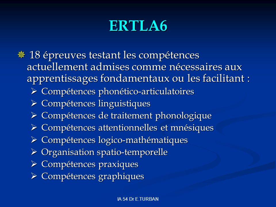 ERTLA6 18 épreuves testant les compétences actuellement admises comme nécessaires aux apprentissages fondamentaux ou les facilitant : 18 épreuves testant les compétences actuellement admises comme nécessaires aux apprentissages fondamentaux ou les facilitant : Compétences phonético-articulatoires Compétences phonético-articulatoires Compétences linguistiques Compétences linguistiques Compétences de traitement phonologique Compétences de traitement phonologique Compétences attentionnelles et mnésiques Compétences attentionnelles et mnésiques Compétences logico-mathématiques Compétences logico-mathématiques Organisation spatio-temporelle Organisation spatio-temporelle Compétences praxiques Compétences praxiques Compétences graphiques Compétences graphiques