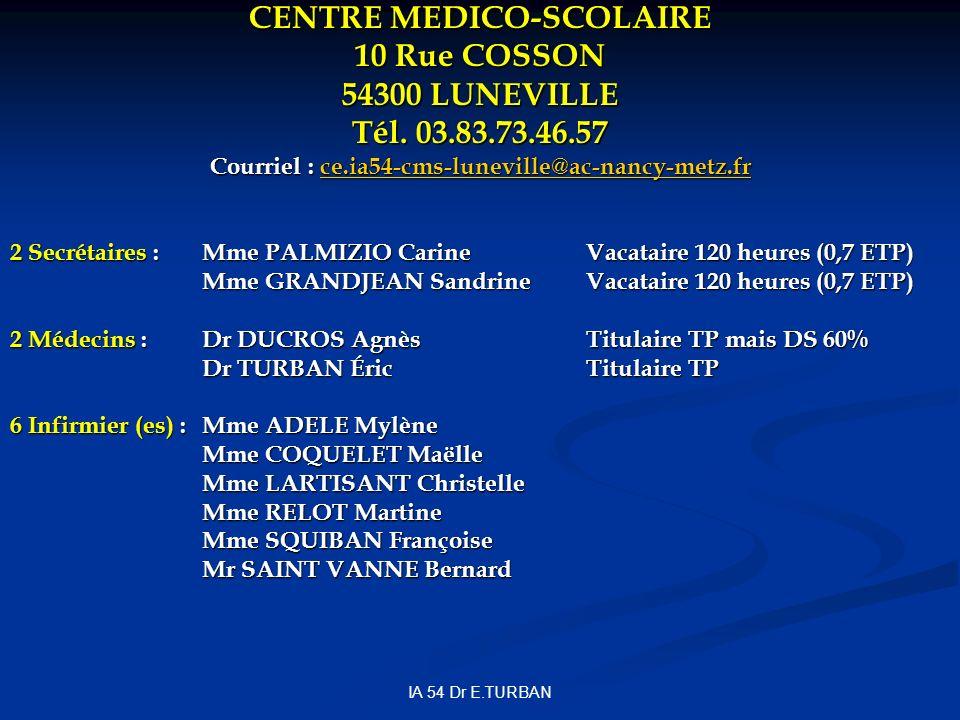 IA 54 Dr E.TURBAN CENTRE MEDICO-SCOLAIRE 10 Rue COSSON 54300 LUNEVILLE Tél. 03.83.73.46.57 Courriel : ce.ia54-cms-luneville@ac-nancy-metz.fr ce.ia54-c