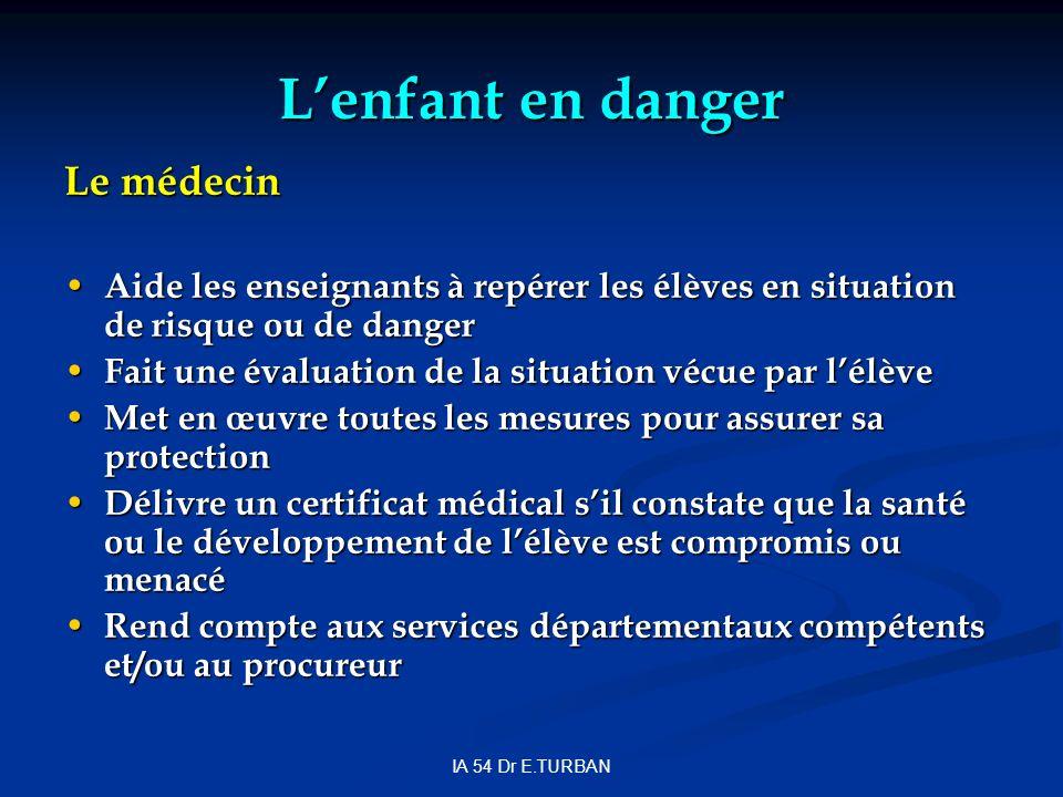 IA 54 Dr E.TURBAN Lenfant en danger Le médecin Aide les enseignants à repérer les élèves en situation de risque ou de danger Aide les enseignants à re