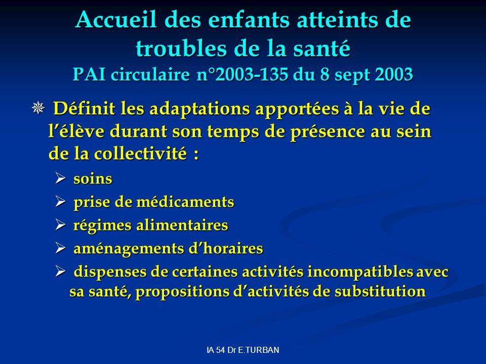 IA 54 Dr E.TURBAN Accueil des enfants atteints de troubles de la santé PAI circulaire n°2003-135 du 8 sept 2003 Définit les adaptations apportées à la