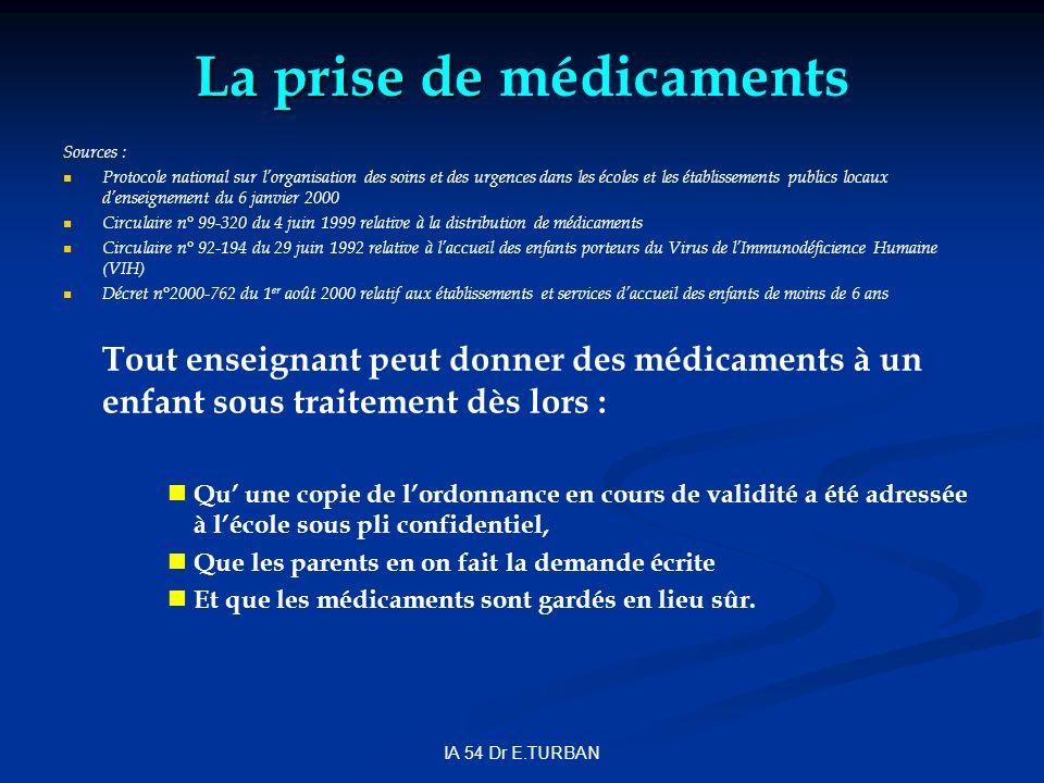 La prise de La prise de médicaments Sources : Protocole national sur lorganisation des soins et des urgences dans les écoles et les établissements pub