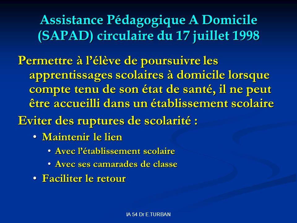 IA 54 Dr E.TURBAN Assistance Pédagogique A Domicile (SAPAD) circulaire du 17 juillet 1998 Permettre à lélève de poursuivre les apprentissages scolaire