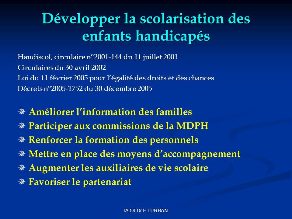 IA 54 Dr E.TURBAN Développer la scolarisation des enfants handicapés Handiscol, circulaire n°2001-144 du 11 juillet 2001 Circulaires du 30 avril 2002