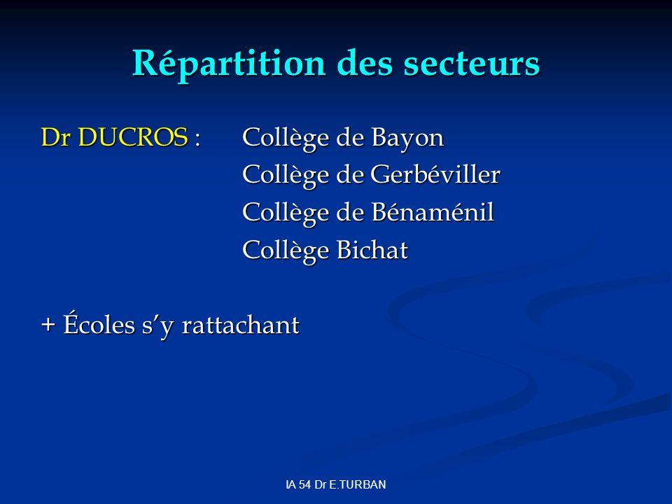 IA 54 Dr E.TURBAN Répartition des secteurs Dr DUCROS :Collège de Bayon Collège de Gerbéviller Collège de Bénaménil Collège Bichat + Écoles sy rattachant