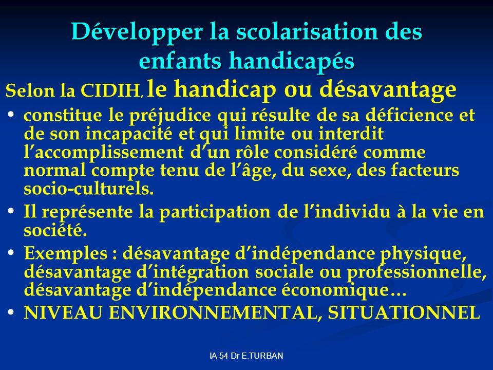 IA 54 Dr E.TURBAN Développer la scolarisation des enfants handicapés Selon la CIDIH, le handicap ou désavantage constitue le préjudice qui résulte de