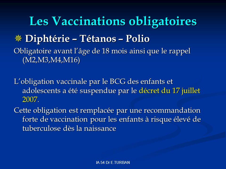 IA 54 Dr E.TURBAN Les Vaccinations obligatoires Diphtérie – Tétanos – Polio Diphtérie – Tétanos – Polio Obligatoire avant lâge de 18 mois ainsi que le rappel (M2,M3,M4,M16) Lobligation vaccinale par le BCG des enfants et adolescents a été suspendue par le décret du 17 juillet 2007.