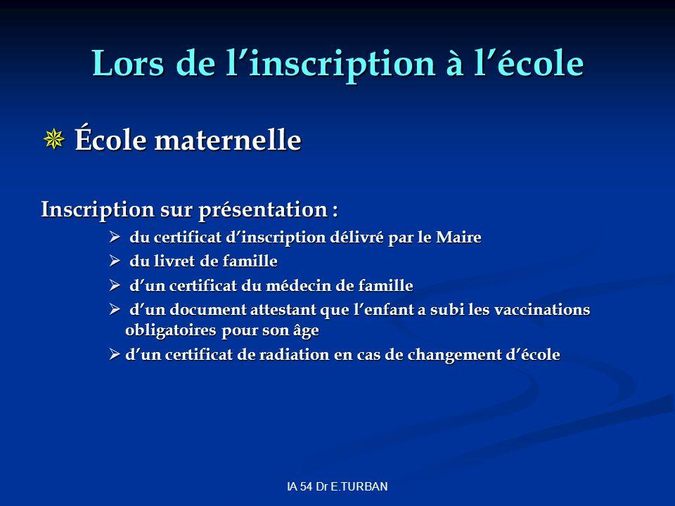 IA 54 Dr E.TURBAN Lors de linscription à lécole École maternelle École maternelle Inscription sur présentation : du certificat dinscription délivré pa