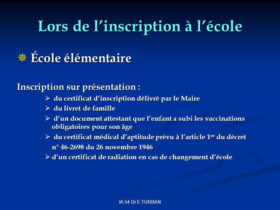 IA 54 Dr E.TURBAN Lors de linscription à lécole École élémentaire École élémentaire Inscription sur présentation : du certificat dinscription délivré