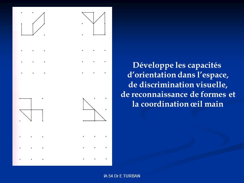 IA 54 Dr E.TURBAN Développe les capacités dorientation dans lespace, de discrimination visuelle, de reconnaissance de formes et la coordination œil main