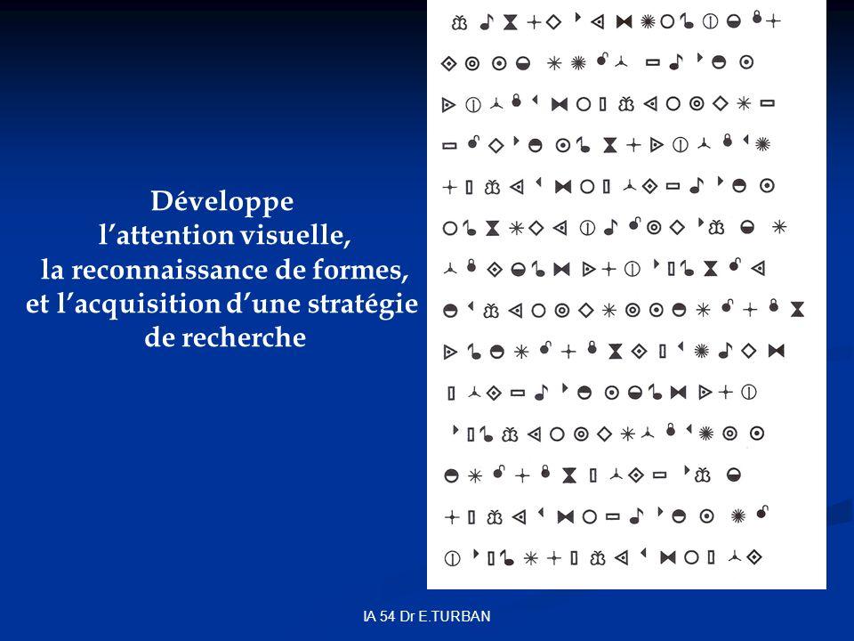 IA 54 Dr E.TURBAN Développe lattention visuelle, la reconnaissance de formes, et lacquisition dune stratégie de recherche