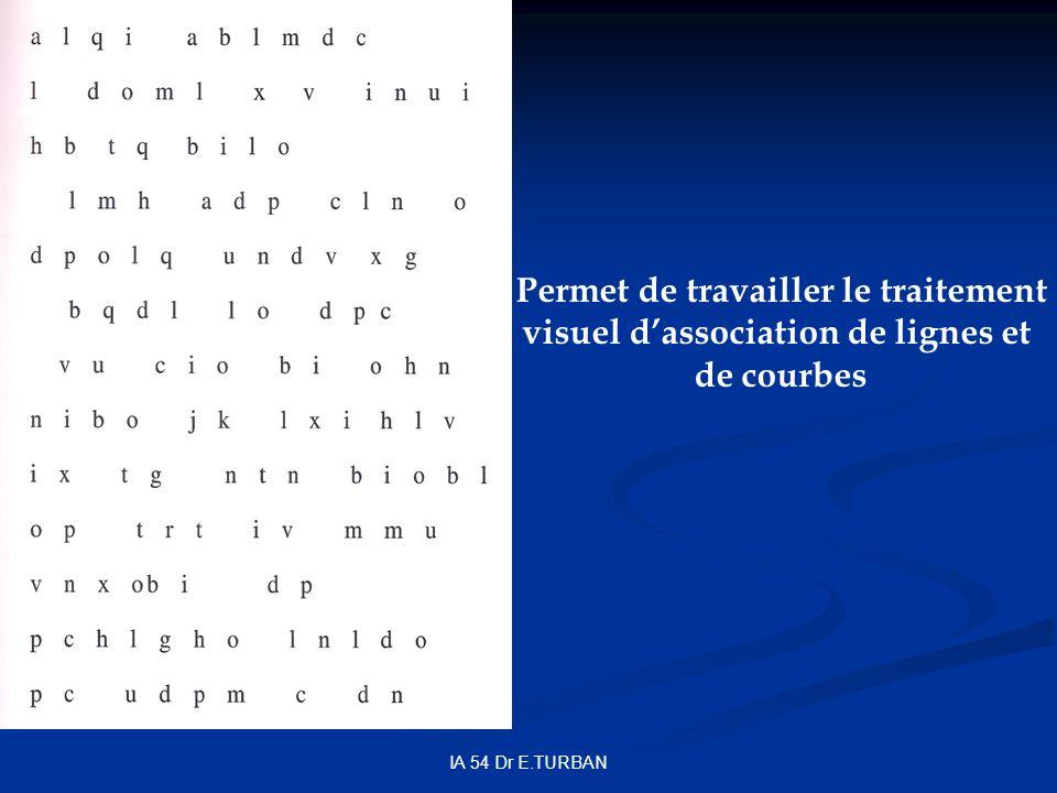 IA 54 Dr E.TURBAN Permet de travailler le traitement visuel dassociation de lignes et de courbes