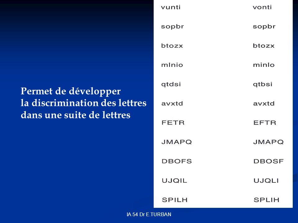 IA 54 Dr E.TURBAN Permet de développer la discrimination des lettres dans une suite de lettres