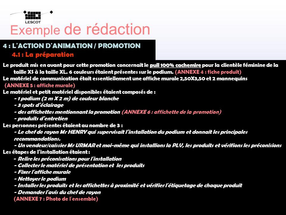 C. FERRAND – F. DE AZEVEDO Lycée Pierre LESCOT – PARIS 1er Exemple de rédaction 4 : L ACTION D ANIMATION / PROMOTION 4.1 : La préparation pull 100% ca