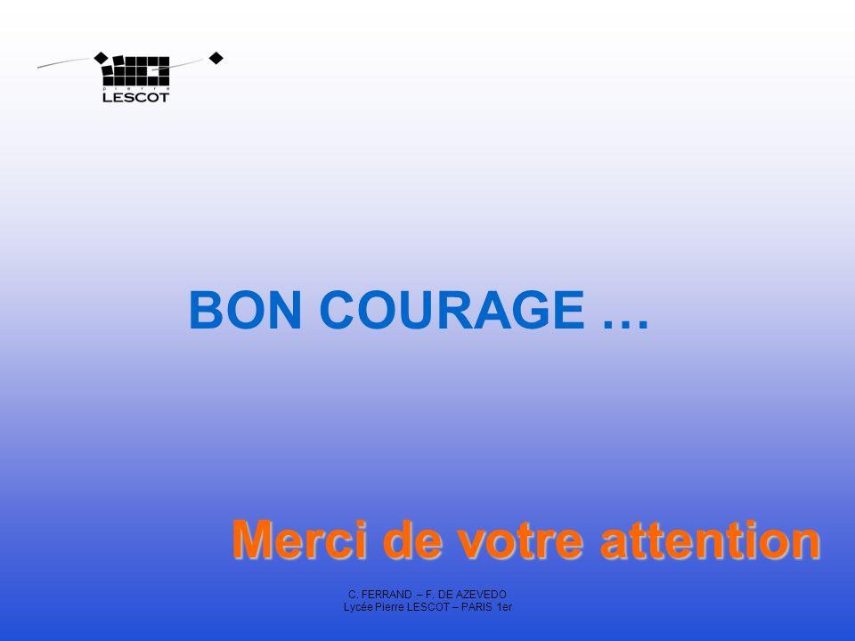 C. FERRAND – F. DE AZEVEDO Lycée Pierre LESCOT – PARIS 1er BON COURAGE … Merci de votre attention