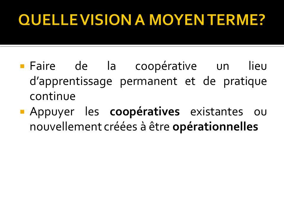 Faire de la coopérative un lieu dapprentissage permanent et de pratique continue Appuyer les coopératives existantes ou nouvellement créées à être opé
