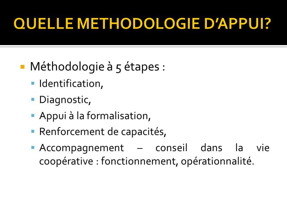 Méthodologie à 5 étapes : Identification, Diagnostic, Appui à la formalisation, Renforcement de capacités, Accompagnement – conseil dans la vie coopér