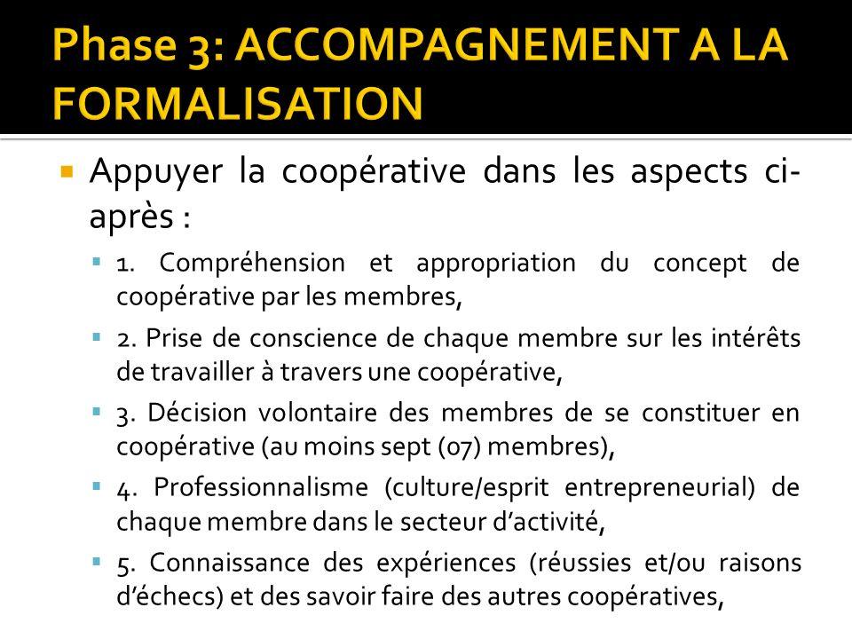 Appuyer la coopérative dans les aspects ci- après : 1. Compréhension et appropriation du concept de coopérative par les membres, 2. Prise de conscienc
