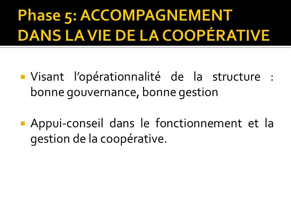 Visant lopérationnalité de la structure : bonne gouvernance, bonne gestion Appui-conseil dans le fonctionnement et la gestion de la coopérative.